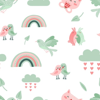 Cute animal pattern. dove, birds and cat.