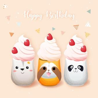 誕生日パーティーのためのかわいい動物柄のガラスのカップケーキ