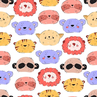 Cute animal pattern in hand drawn trending style on white background