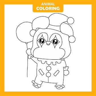 Cute animal penguin clown job occupation coloring page