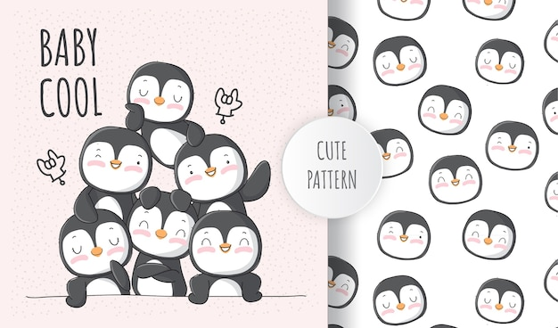 Cute animal penguin with a friends  pattern set