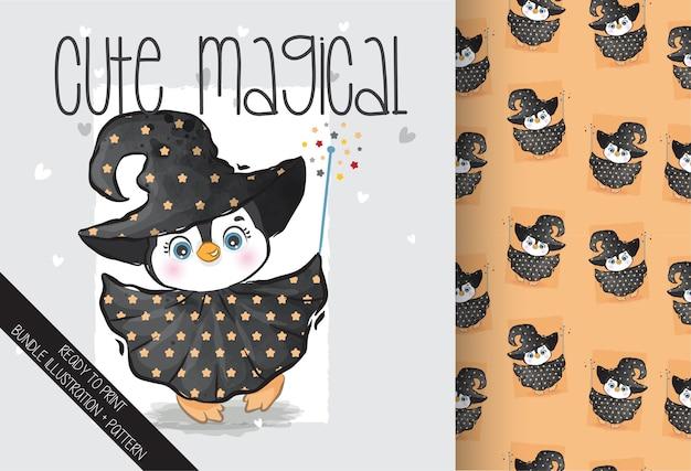 魔女の衣装のシームレスなパターンでかわいい動物のペンギン。かわいい漫画の動物。