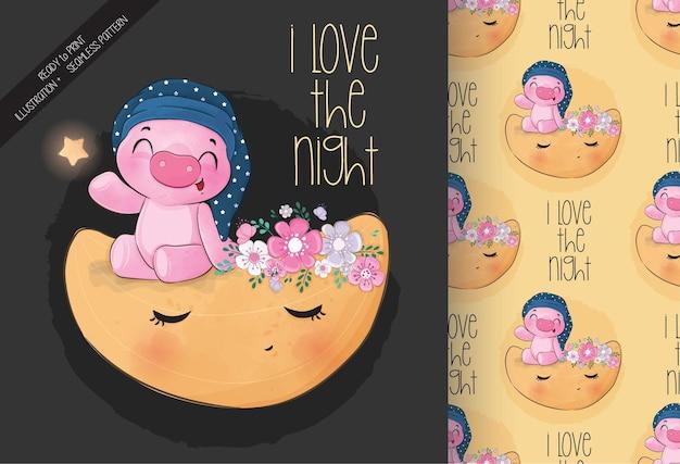 月のシームレスなパターンでかわいい動物の豚