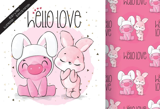 Cute animal pig with pretty bunny seamless pattern