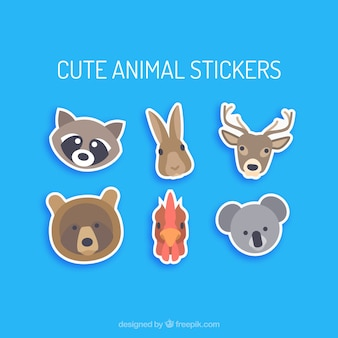 Cute animal portrait stickers
