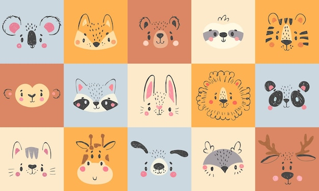 귀여운 동물 초상화. 손으로 그린 행복 동물 얼굴, 웃는 곰, 재미있는 여우와 코알라 만화 그림 세트.