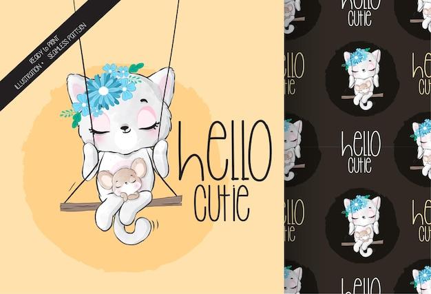 Cute animal pretty kitten happy on the swing seamless pattern