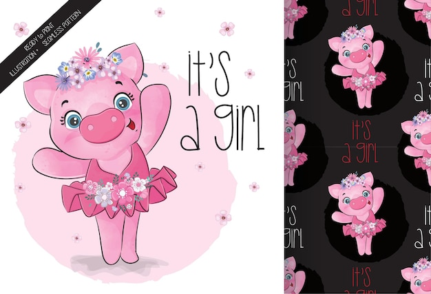 Cute animal pretty pig ballerina seamless pattern