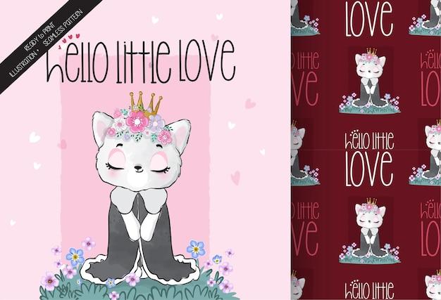 シームレスなパターンでかわいい動物の女王の子猫