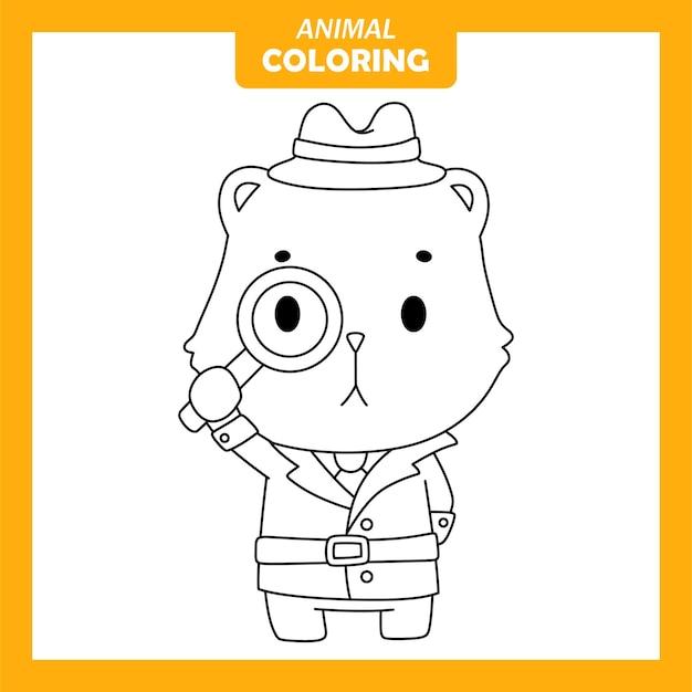 귀여운 동물 quokka 탐정 직업 색칠 페이지