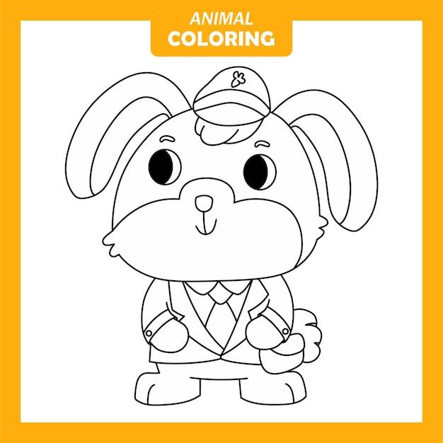 귀여운 동물 토끼 우체부 직업 직업 색칠 페이지