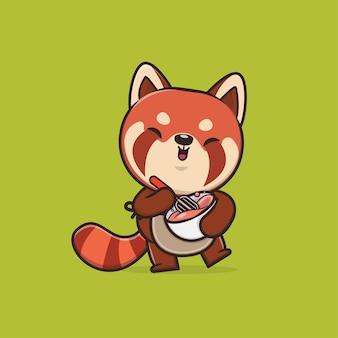 かわいい動物のレッサーパンダのイラスト