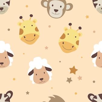 귀여운 동물 원활한 패턴 배경