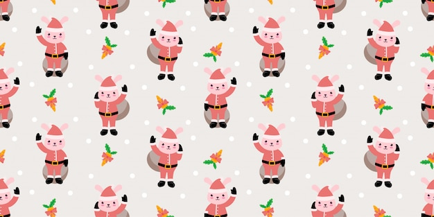 Cute animal seamless pattern christmas winter theme