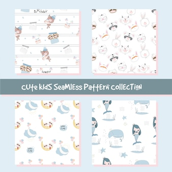 Cute animal seamless pattern collection