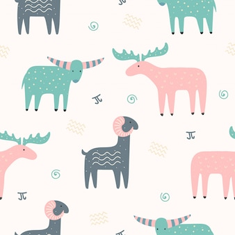 Cute animal seamless pattern for wallpaper