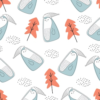 Cute animal seamless pattern with polar bear and penguin nordic style