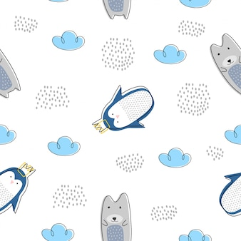 Cute animal seamless pattern with polar bear and penguin scandinavian drawing