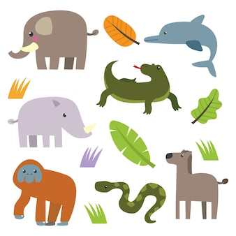 Cute animal set cartoon series