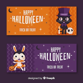Cute animal set of halloween banners