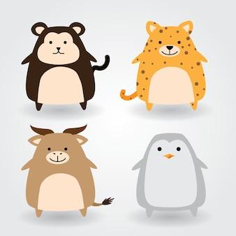 Cute animal set including monkey, cheetah, buffalo, penguin. vector illustration.