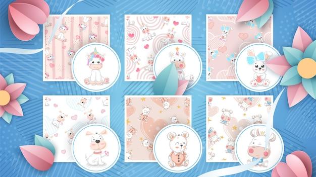 Cute animal set seamless pattern