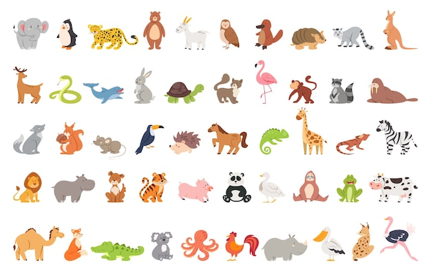 Cute animal set with farm and wild character. cat and lion, elephant and monkey. zoo collection.