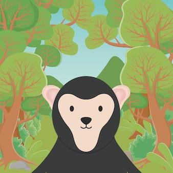 Милый мультфильм медведь-ленивец в лесу