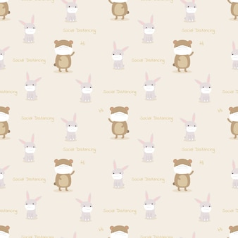 Cute animal in social distancing seamless pattern