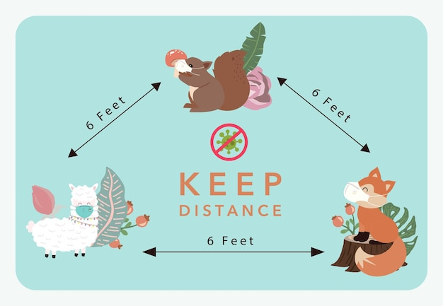 Cute animal social ditancing collection with fox,llama is wearing mask.vector illustration for prevention the spread of bacteria,coronviruses