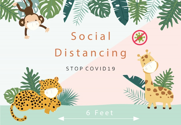 Cute animal social ditancing collection with leopard,giraffe,monkey is wearing mask.vector illustration for prevention the spread of bacteria,coronviruses