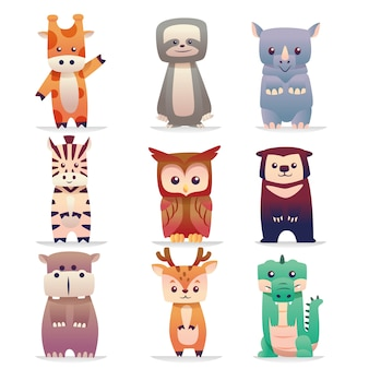 Cute animal standing pose collection