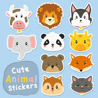 Cute animal stickers vector set
