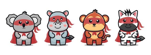 Cute animal super hero cartoon icon illustration animal hero concept