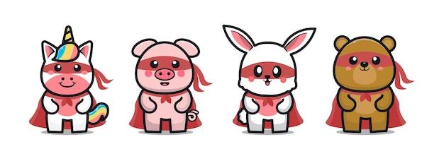 Cute animal superhero cartoon illustration