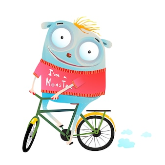 Cute animal in sweater riding bike
