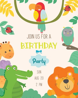 Cute animal theme birthday party invitation card vector.