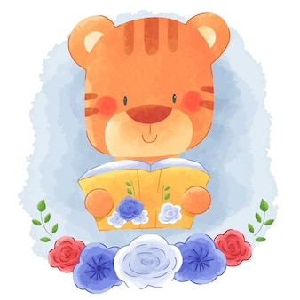 Cute animal tiger reading book with flower frame watercolor background.