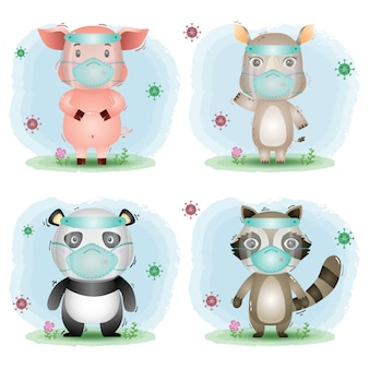 フェイスシールドとマスクを使用したかわいい動物:豚、サイ、パンダ、アライグマ