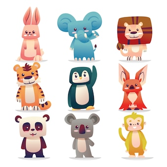 Cute animal vector illustration elements set