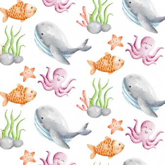Cute animal water watercolor seamless pattern