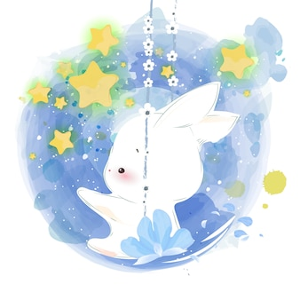 Cute animal in watercolor style