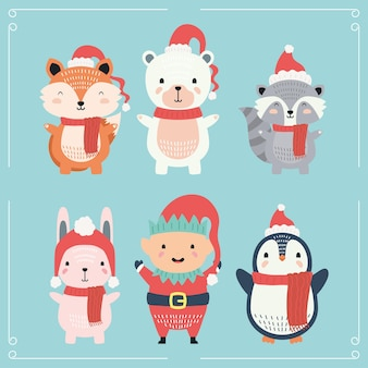Cute animal wearing christmas clothes characters
