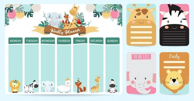 Cute animal weekly planner