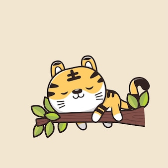 Cute animal wildlife tiger cartoon illustration