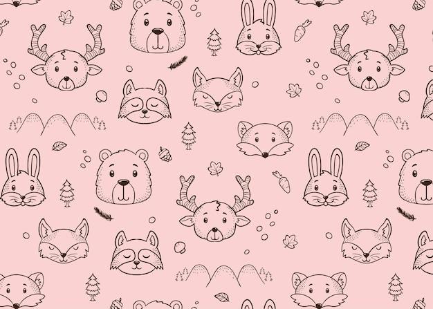 Cute animal winter pattern