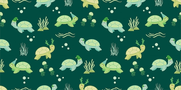 Cute animal winter turtle seamless pattern doodle
