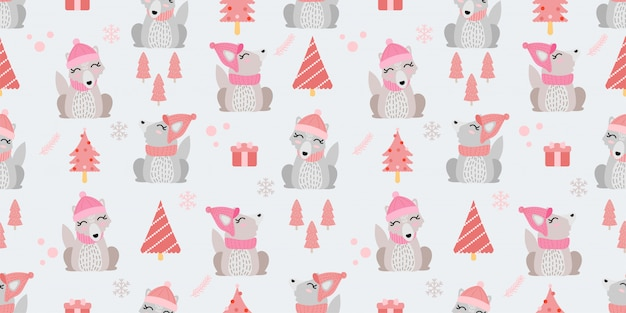 Cute animal winter wolf seamless pattern doodle