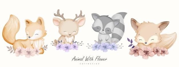 꽃 컬렉션 귀여운 동물