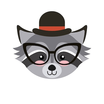 かわいい動物、帽子と眼鏡hipsterスタイル